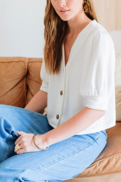 Everly Barley Buttoned Top - Product List Image