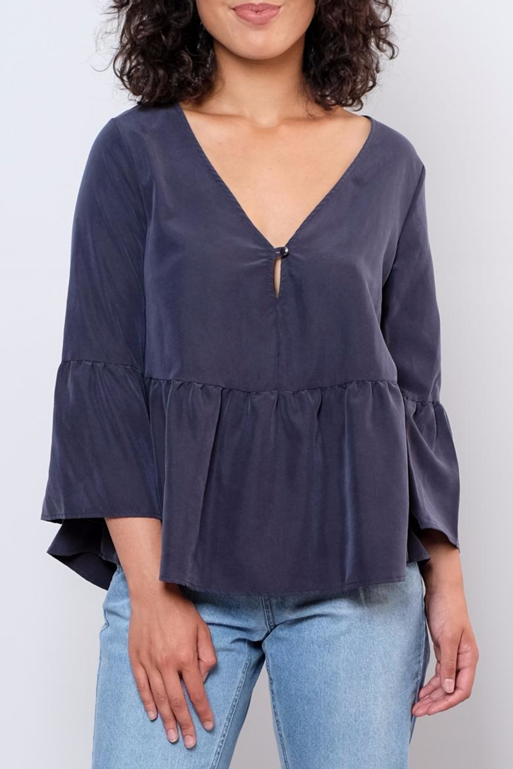 Everly Bellsleeve Peplum Top - Front Cropped Image