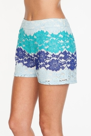 Everly Blue Lace Shorts - Front cropped