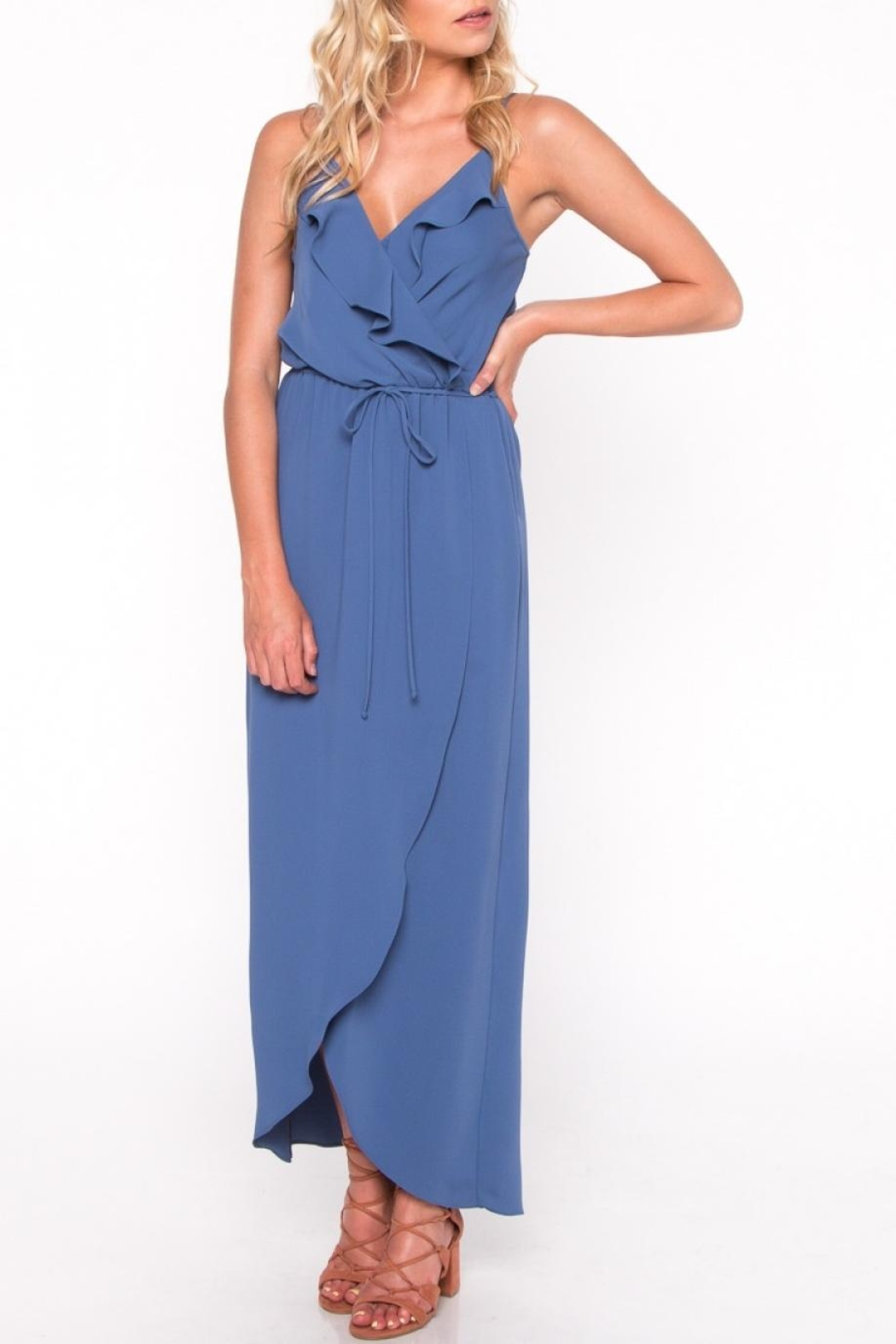 Everly Blue Ruffle Maxi Dress - Front Full Image