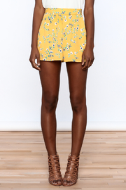 Everly Bright Yellow Floral Shorts - Side cropped