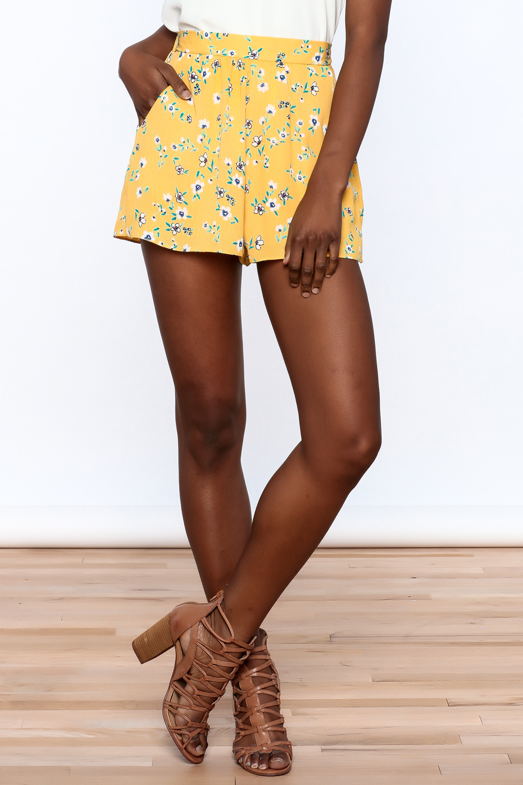 Everly Bright Yellow Floral Shorts - Front Cropped Image