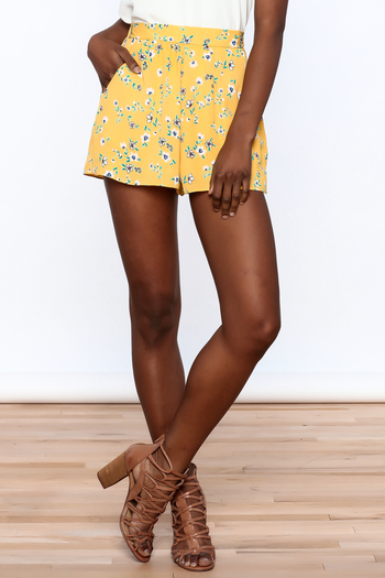 Everly Bright Yellow Floral Shorts - Main Image