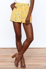Everly Bright Yellow Floral Shorts - Front cropped