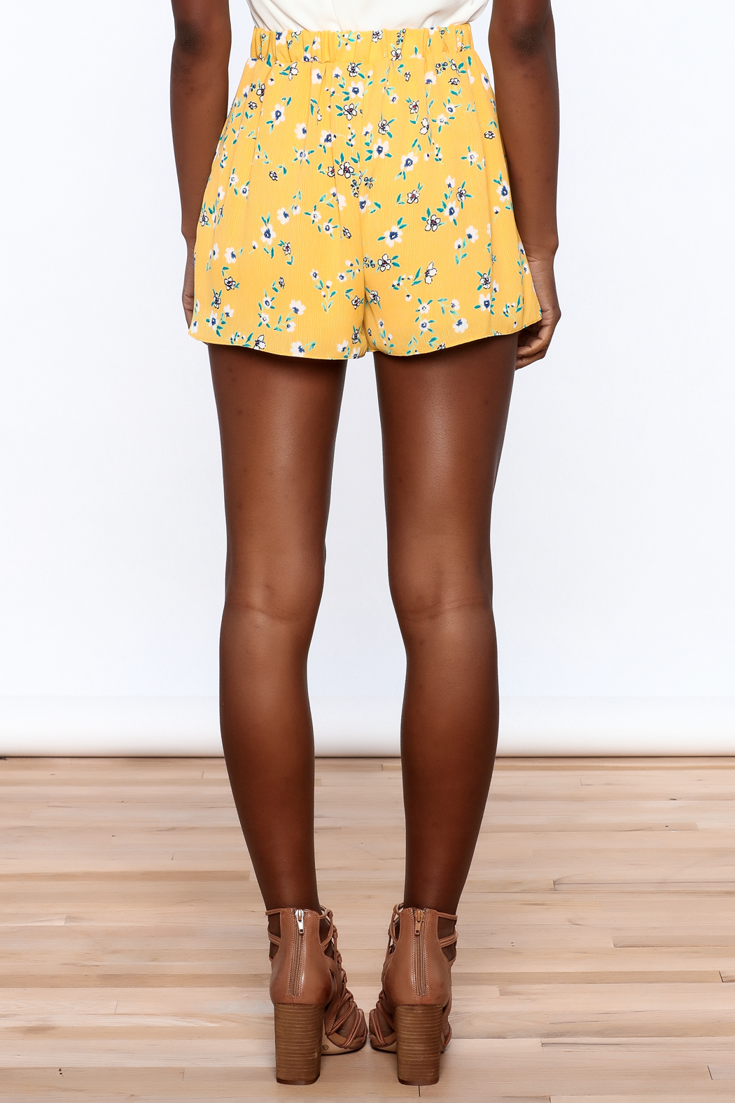 Everly Bright Yellow Floral Shorts - Back Cropped Image