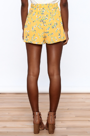 Everly Bright Yellow Floral Shorts - Back cropped