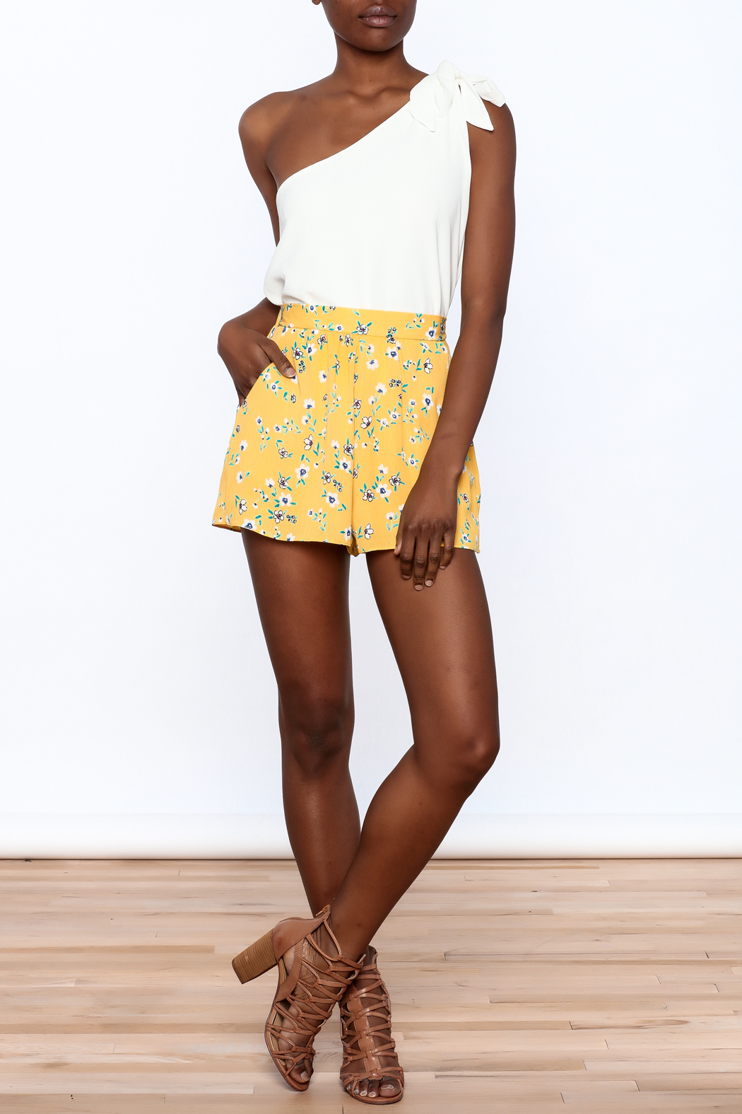 Everly Bright Yellow Floral Shorts - Front Full Image