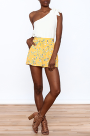 Everly Bright Yellow Floral Shorts - Front full body