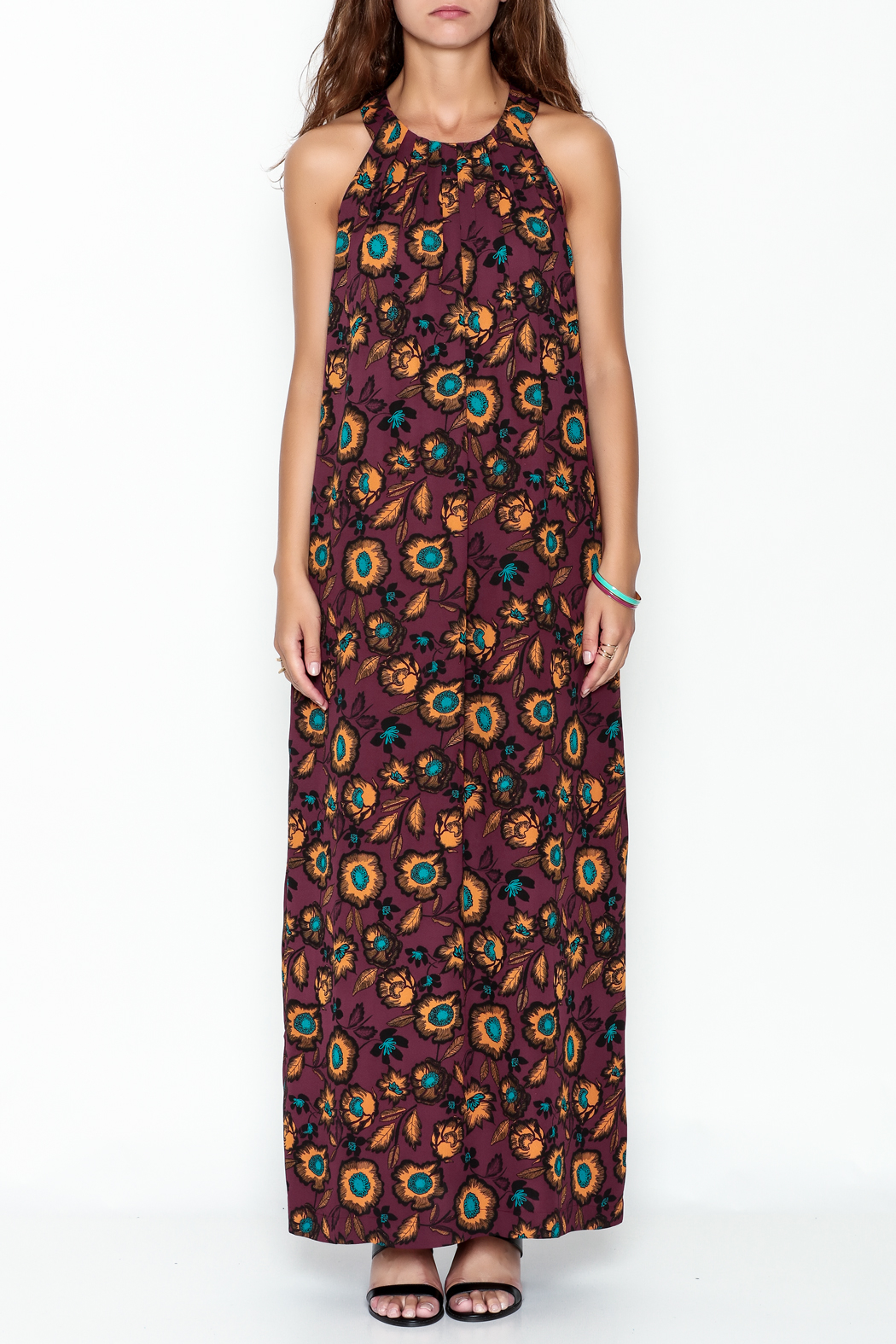 Everly Burgundy Floral Maxi Dress - Front Full Image