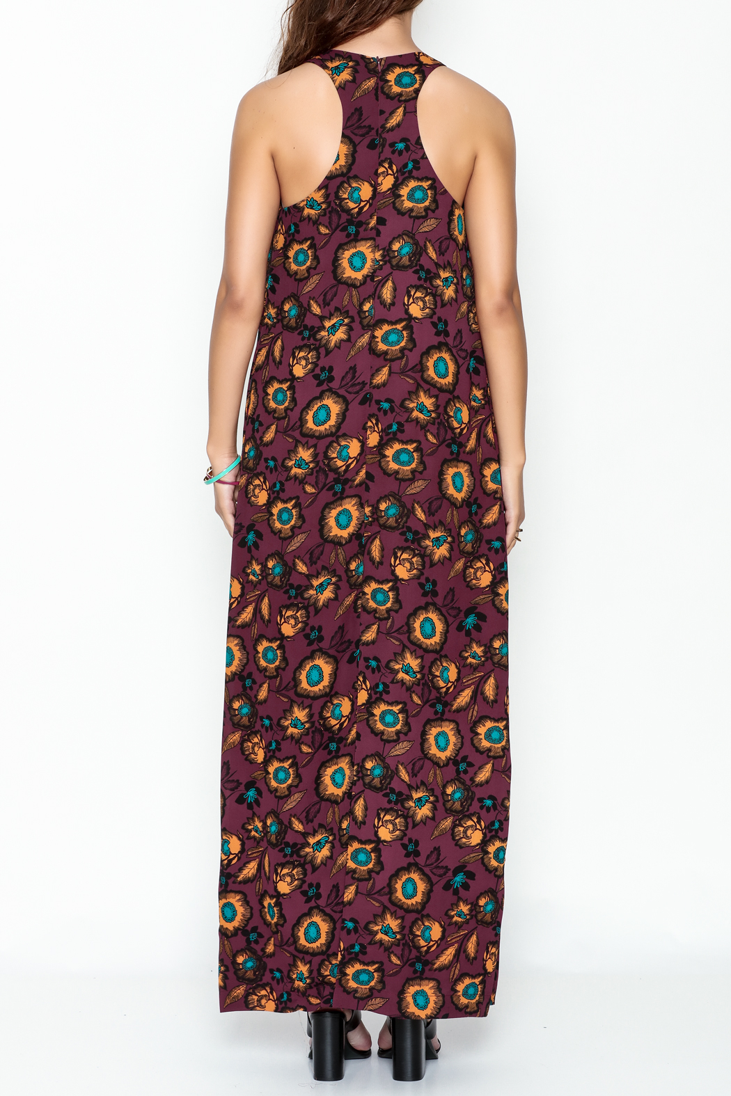 Everly Burgundy Floral Maxi Dress - Back Cropped Image