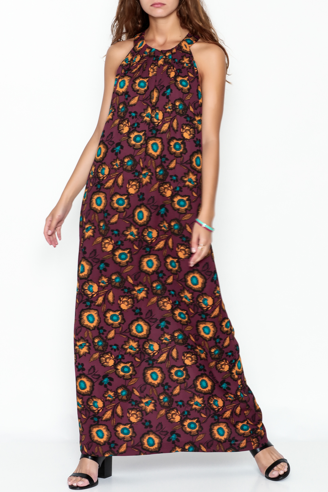 Everly Burgundy Floral Maxi Dress - Front Cropped Image
