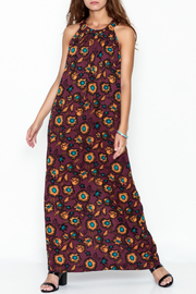 Everly Burgundy Floral Maxi Dress - Front cropped