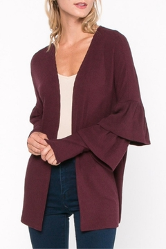 Shoptiques Product: Burgundy Ruffle Cardigan