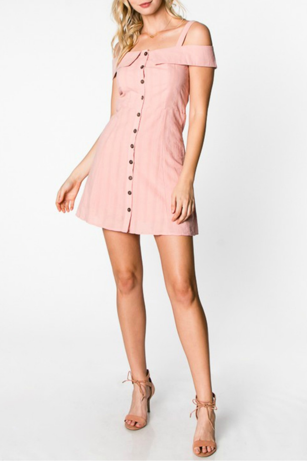 Everly Button Down Dress - Front Full Image