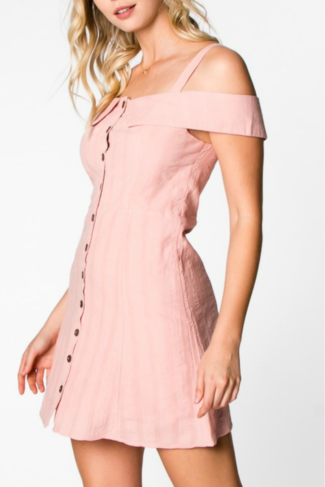 Everly Button Down Dress - Side Cropped Image