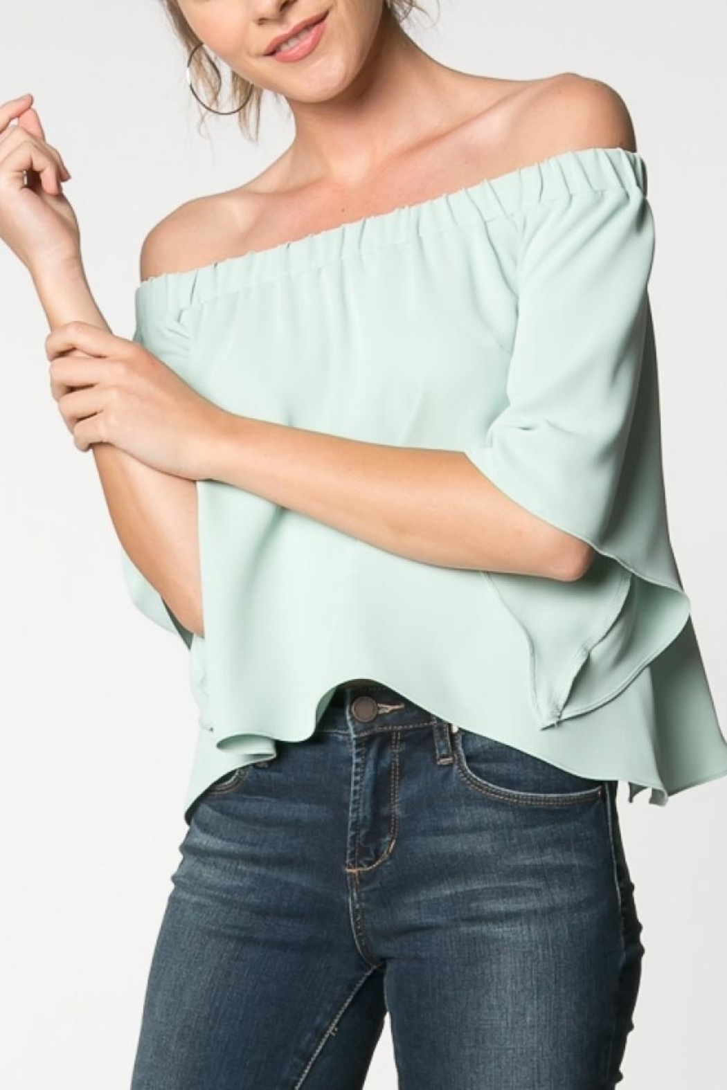Everly Canary Top Sage - Front Full Image