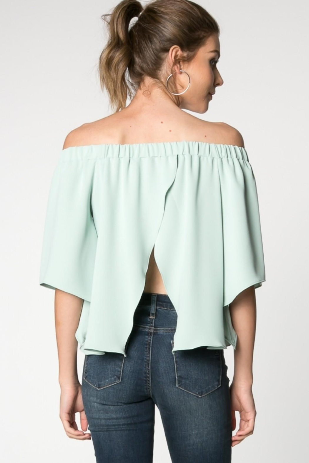 Everly Canary Top Sage - Back Cropped Image
