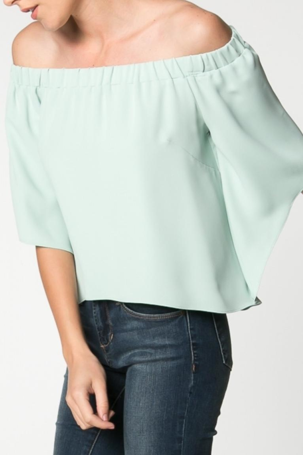 Everly Canary Top Sage - Side Cropped Image