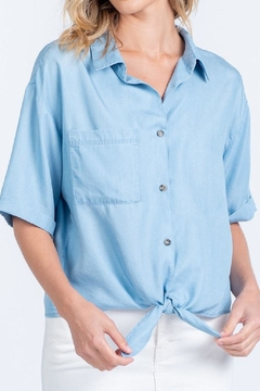 Everly Chambray Tie-Front Top - Alternate List Image