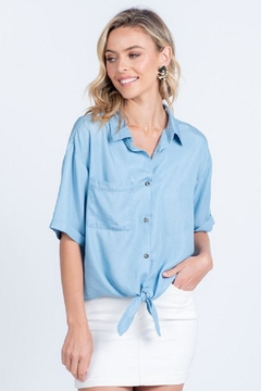 Everly Chambray Tie-Front Top - Product List Image