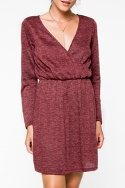 Everly Cranbery Wine Dress - Front full body