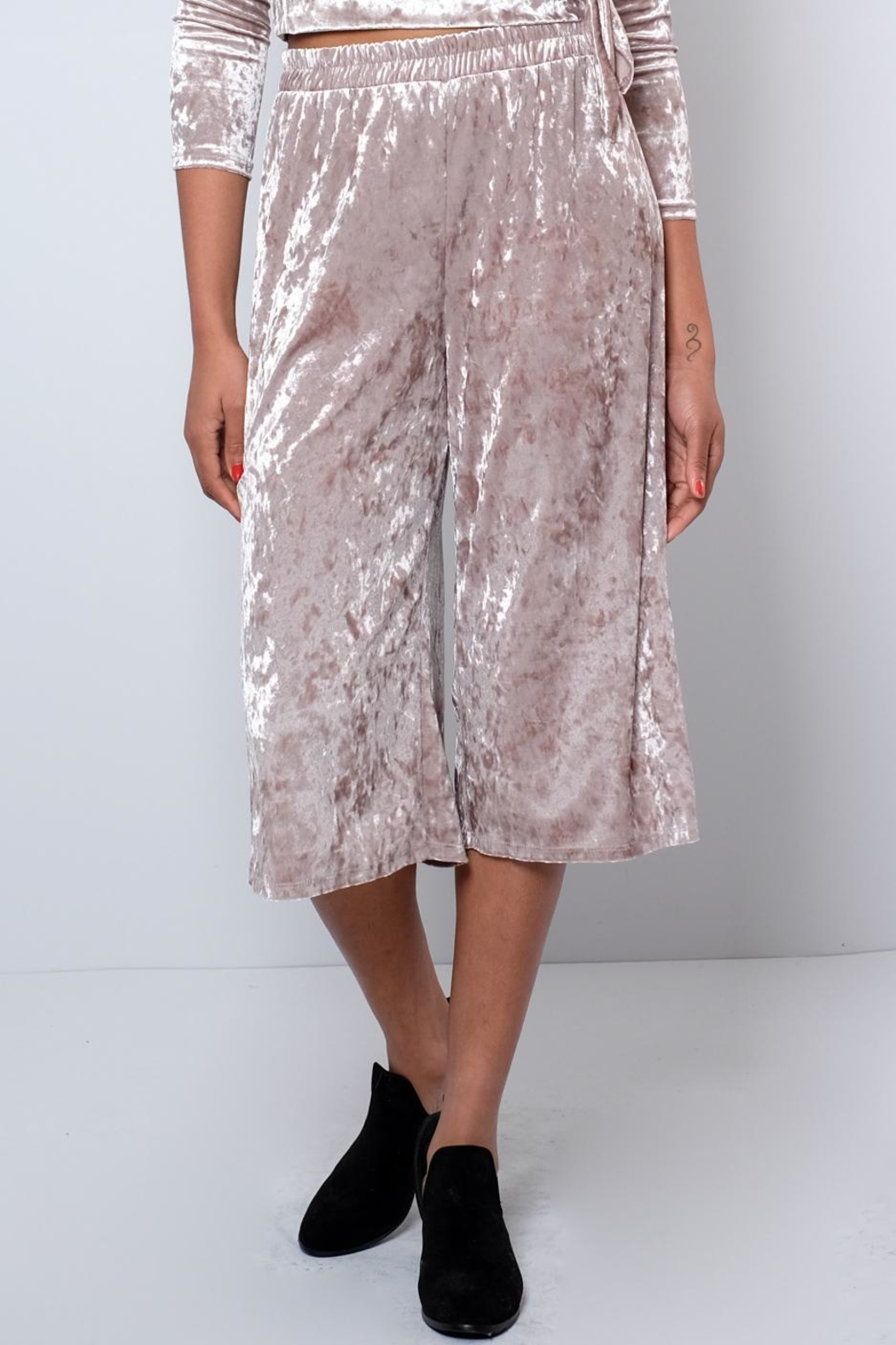 Everly Crushed Velvet Culottes - Front Cropped Image
