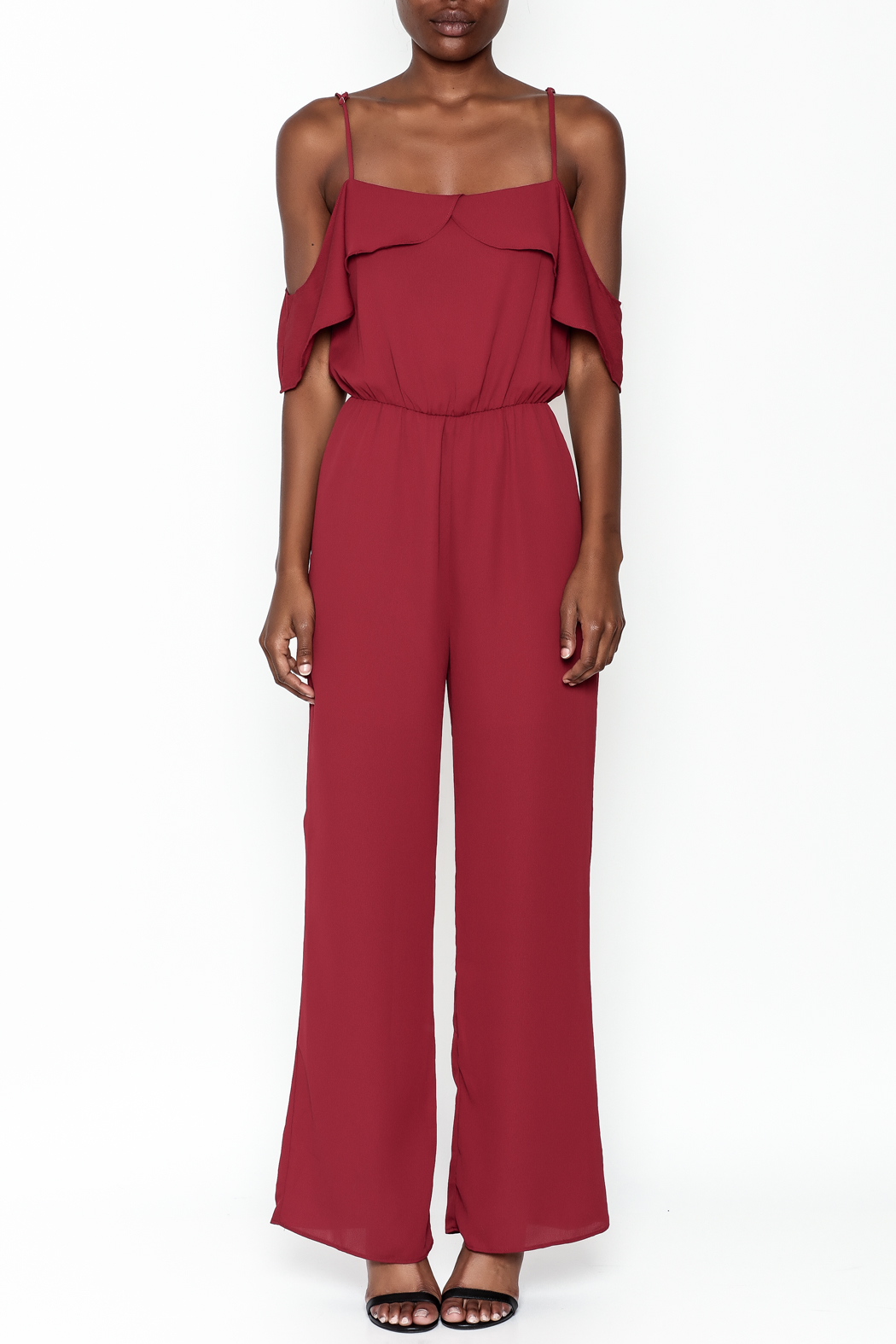 Everly Deep Red Jumpsuit - Front Full Image