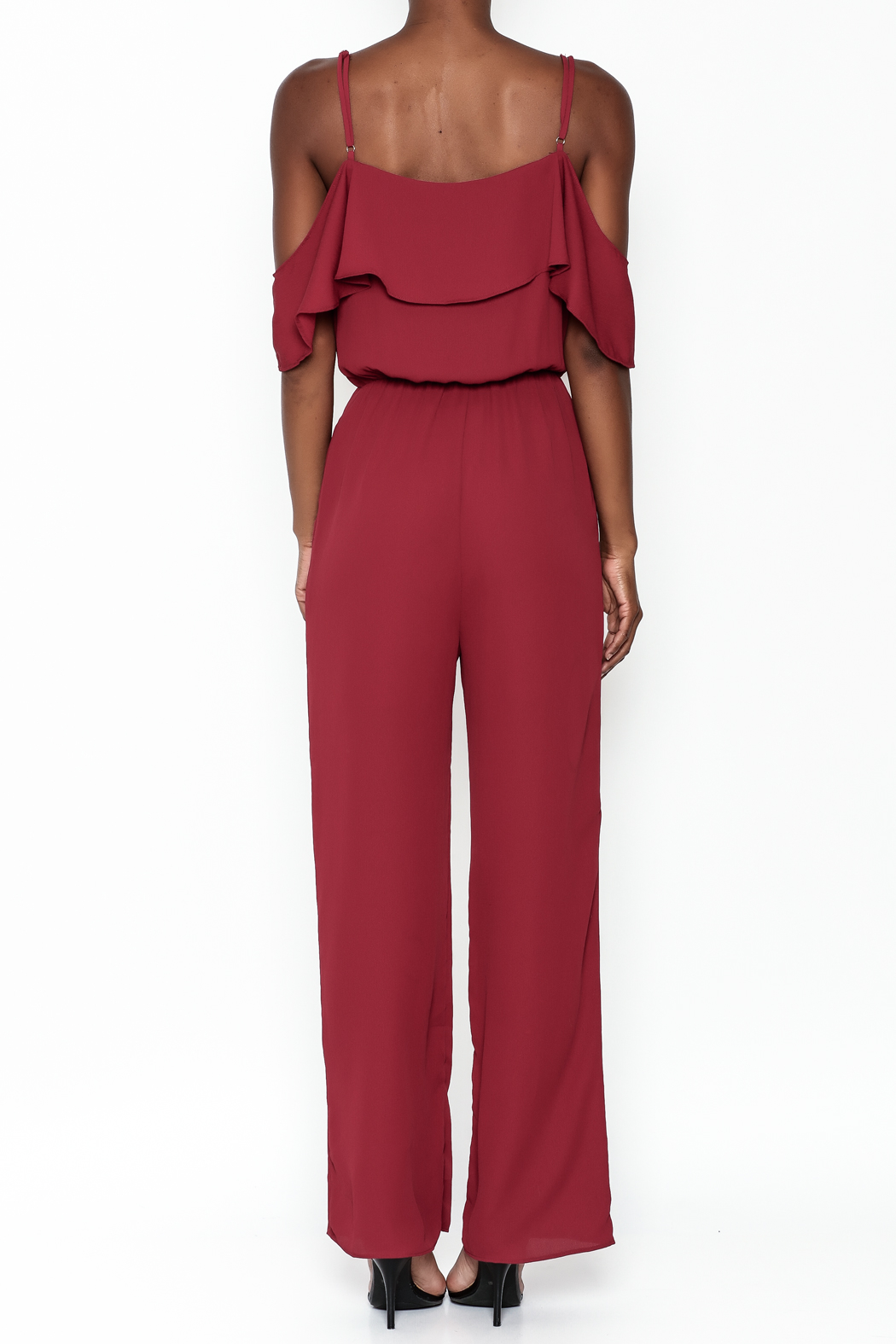 Everly Deep Red Jumpsuit - Back Cropped Image