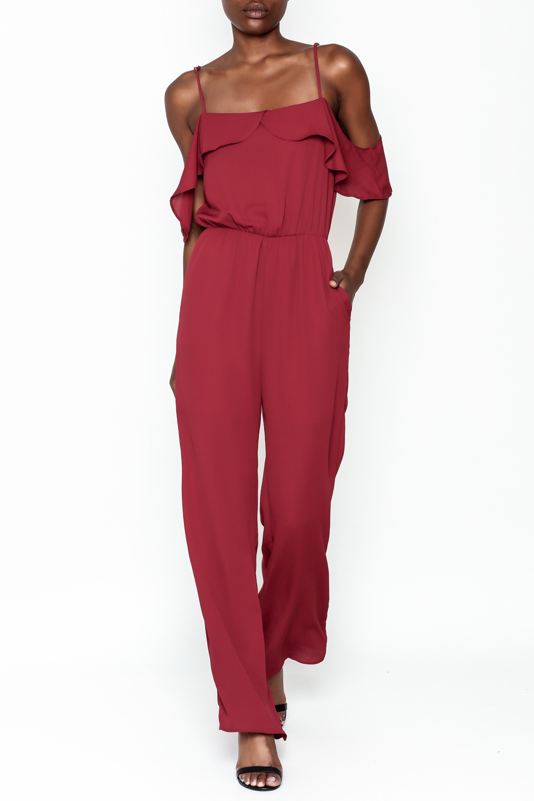 Everly Deep Red Jumpsuit - Main Image