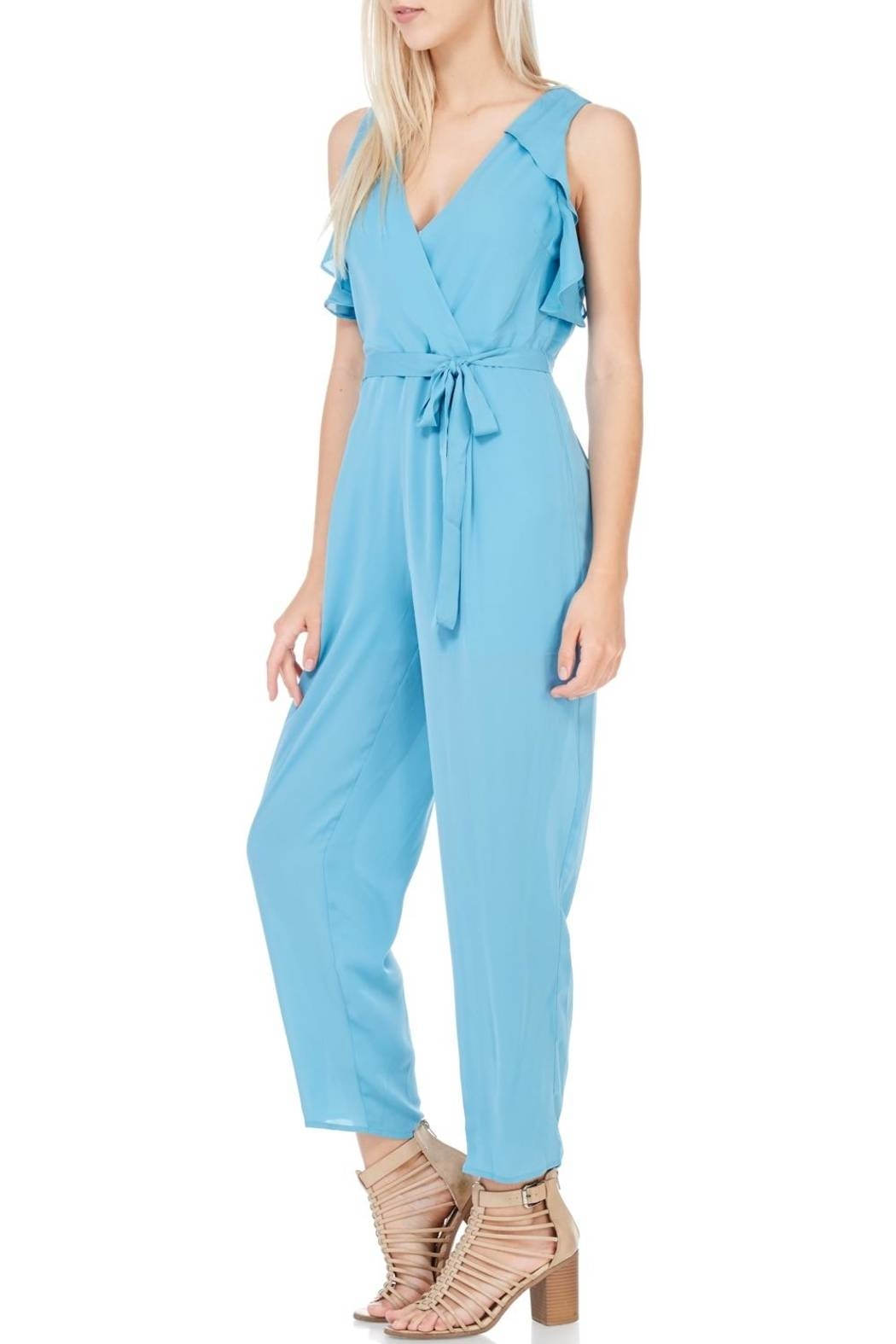 Everly Dusty Blue Lined Jumpsuit - Front Full Image