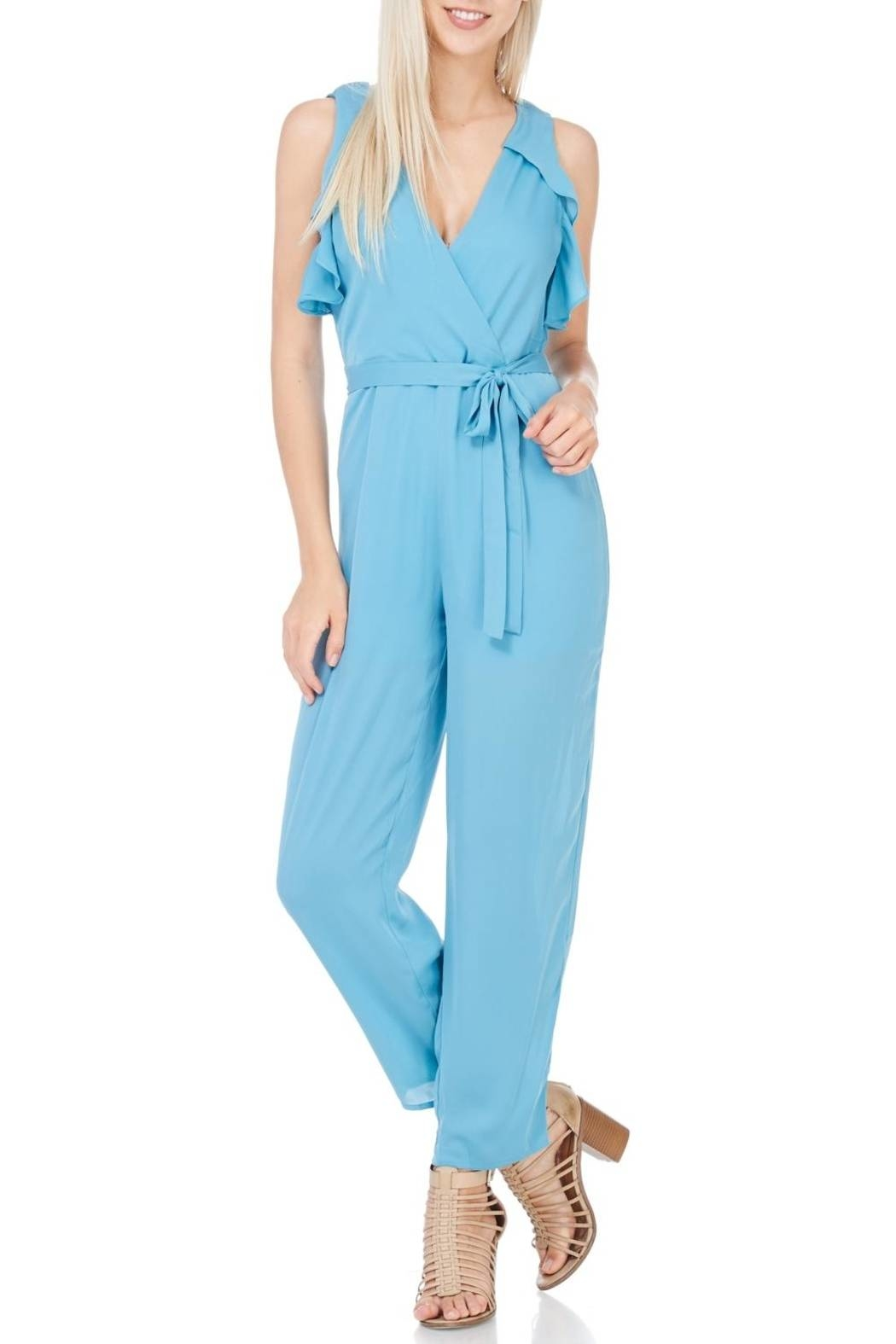 Everly Dusty Blue Lined Jumpsuit - Main Image