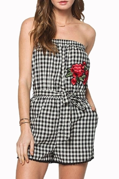 Shoptiques Product: Gingham Embroidered Romper