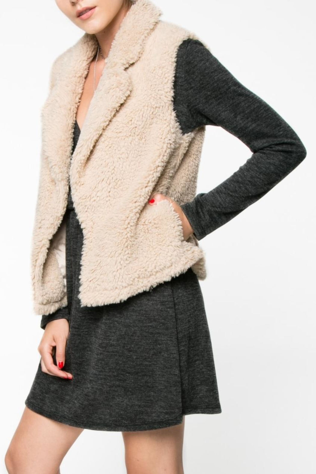 Everly Faux Fur Vest - Front Cropped Image