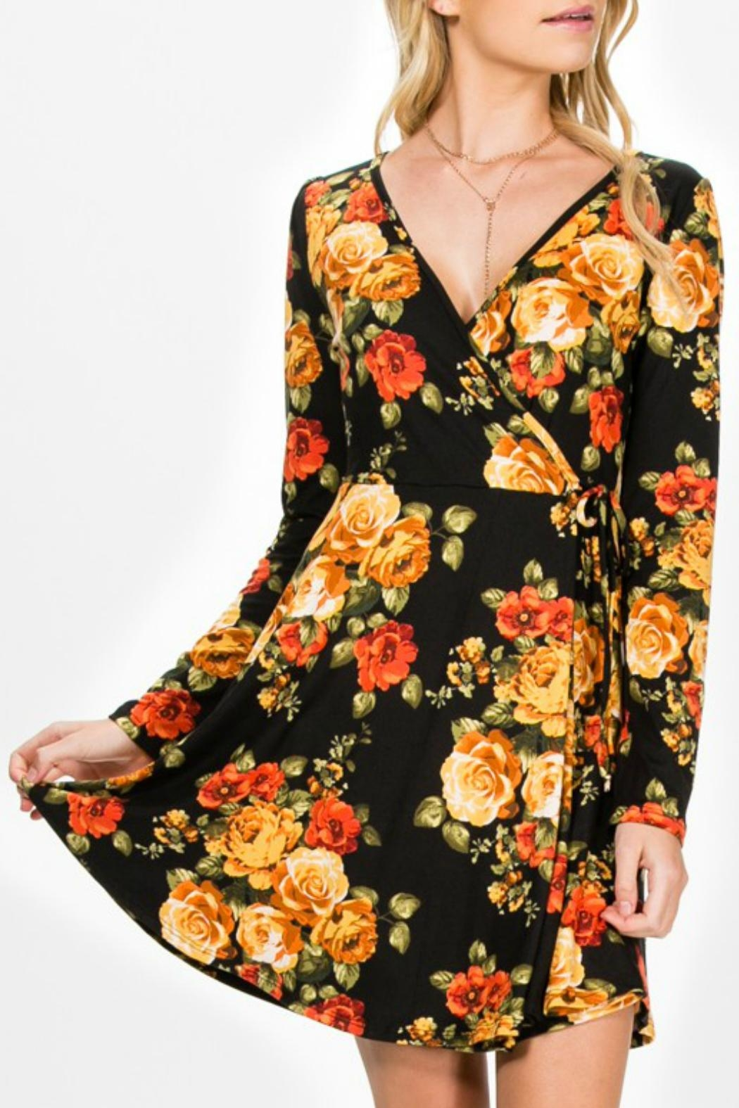 Everly Faux-Wrap Floral Dress - Front Cropped Image