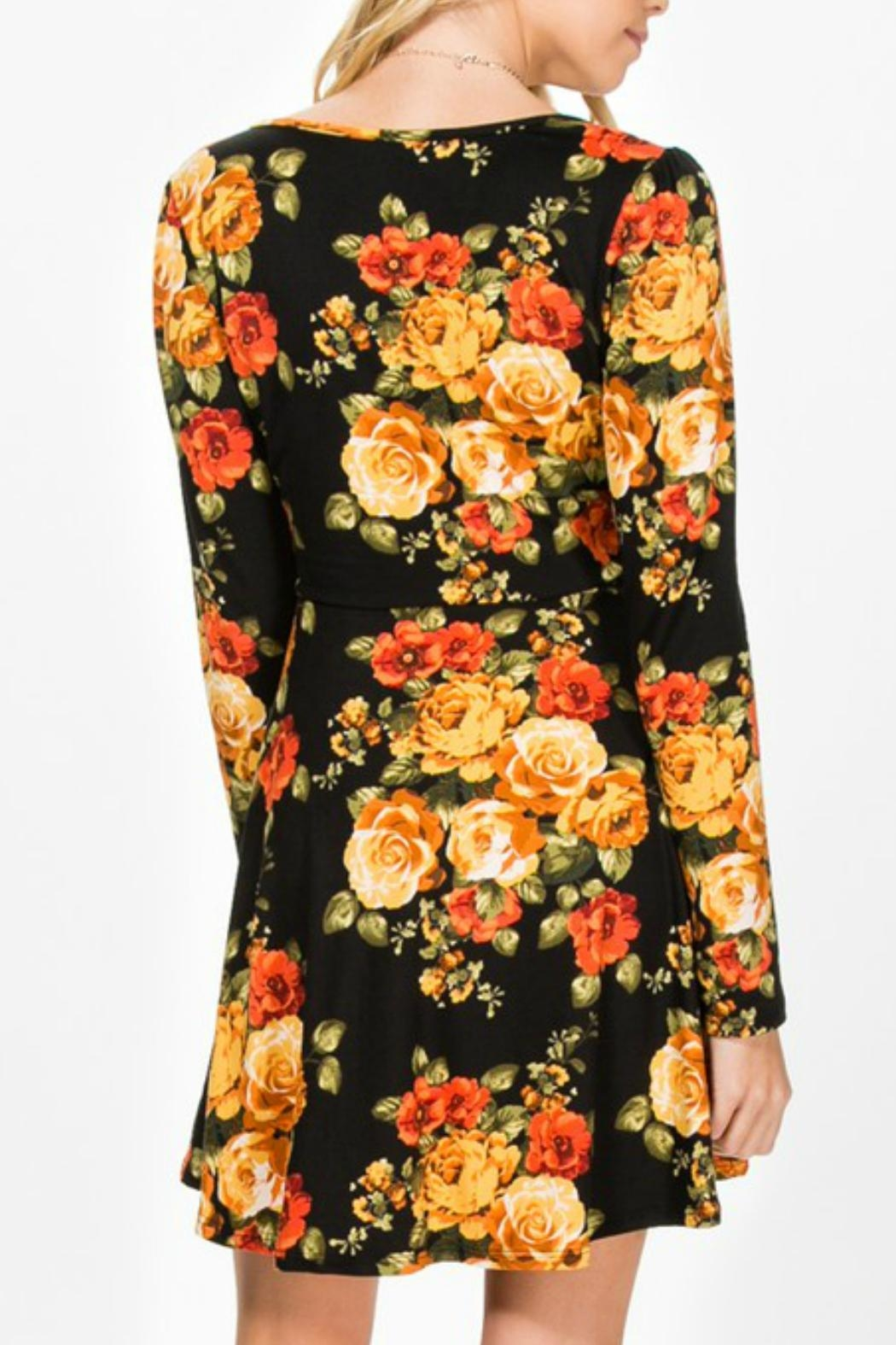 Everly Faux-Wrap Floral Dress - Front Full Image