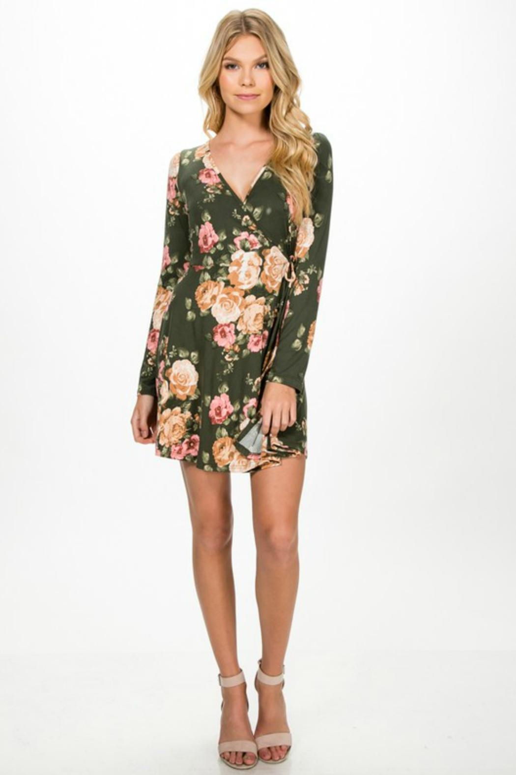 Everly Faux-Wrap Floral Dress - Back Cropped Image