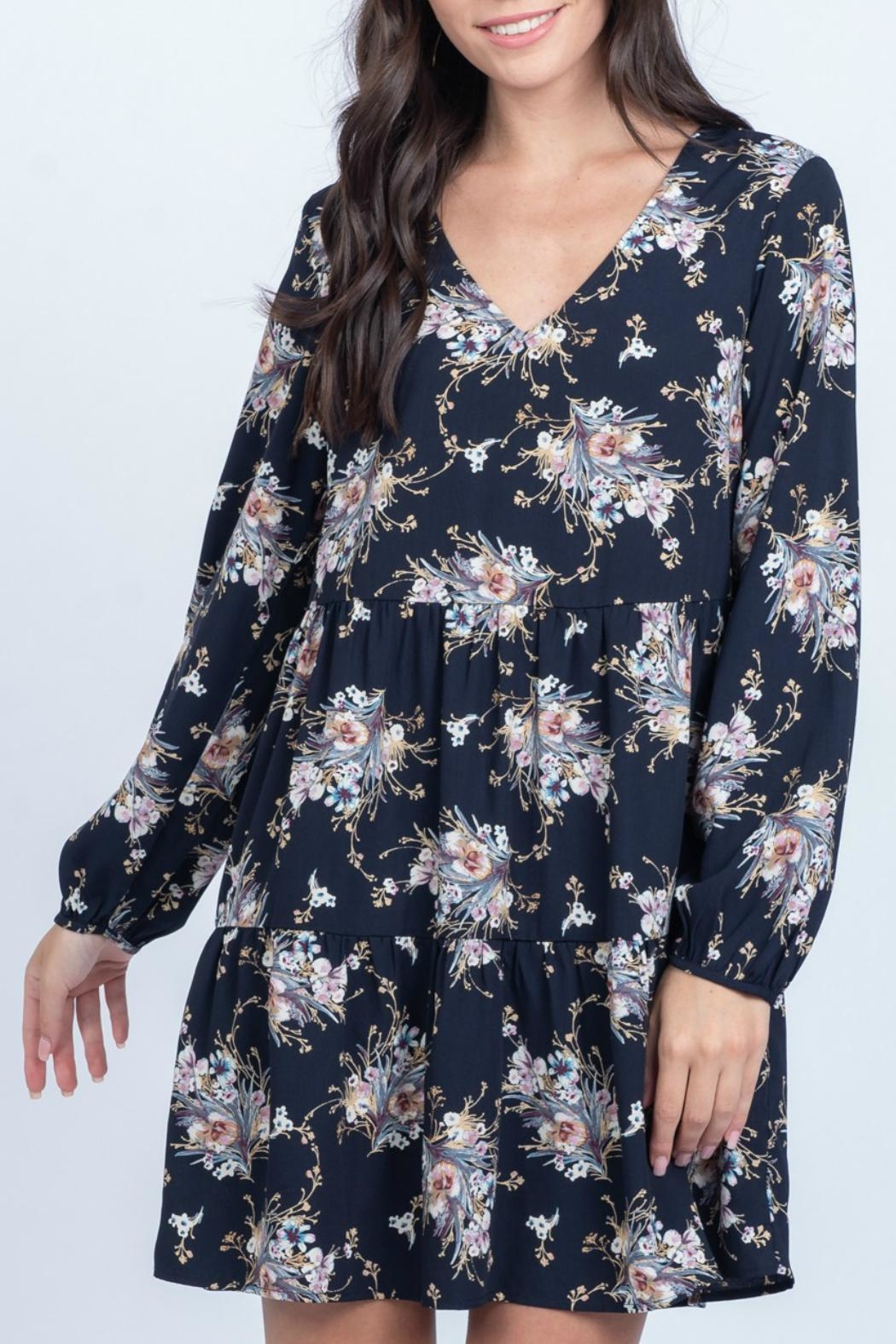 Everly Floral Babydoll Dress - Side Cropped Image