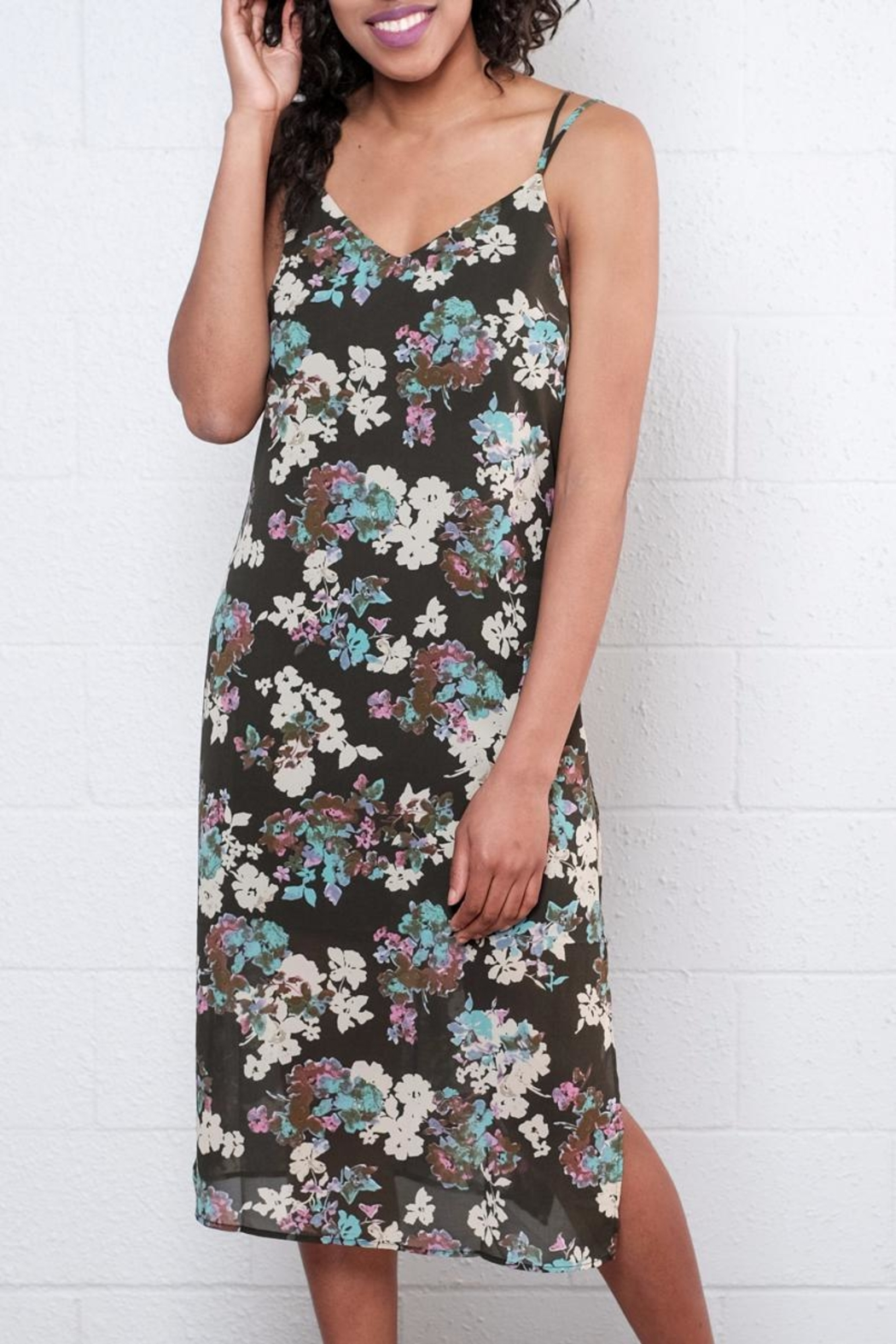Everly Floral Midi Dress - Front Full Image