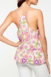 Everly Floral Peplum Tank - Front full body