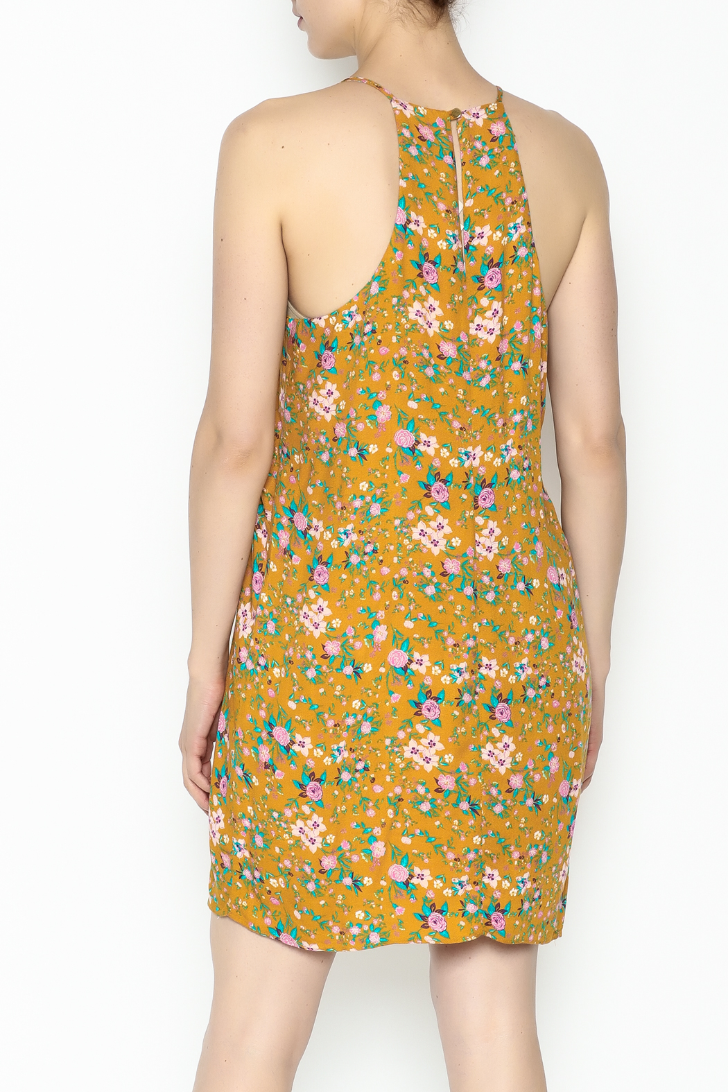 Everly Yellow Floral Shift Dress - Back Cropped Image