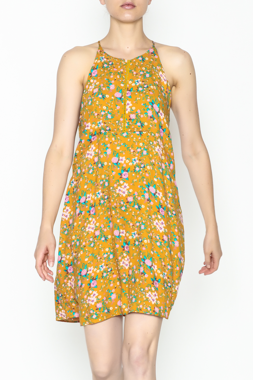 Everly Yellow Floral Shift Dress - Main Image