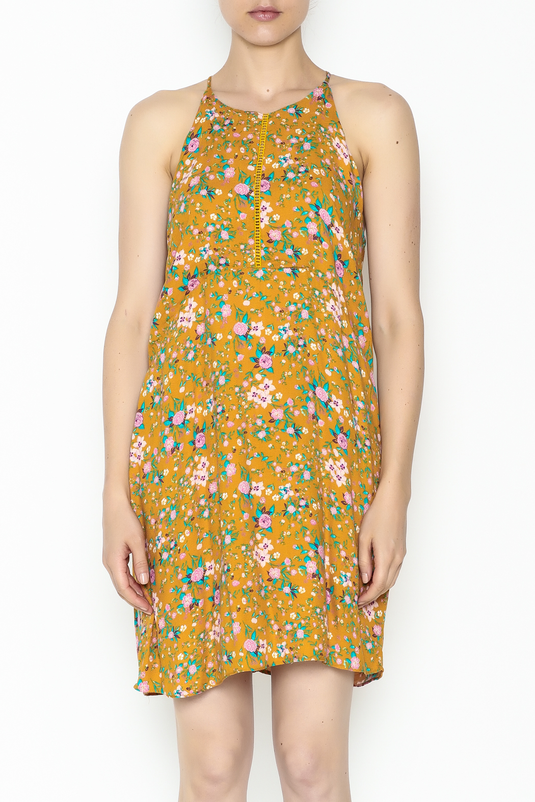 Everly Yellow Floral Shift Dress - Front Full Image