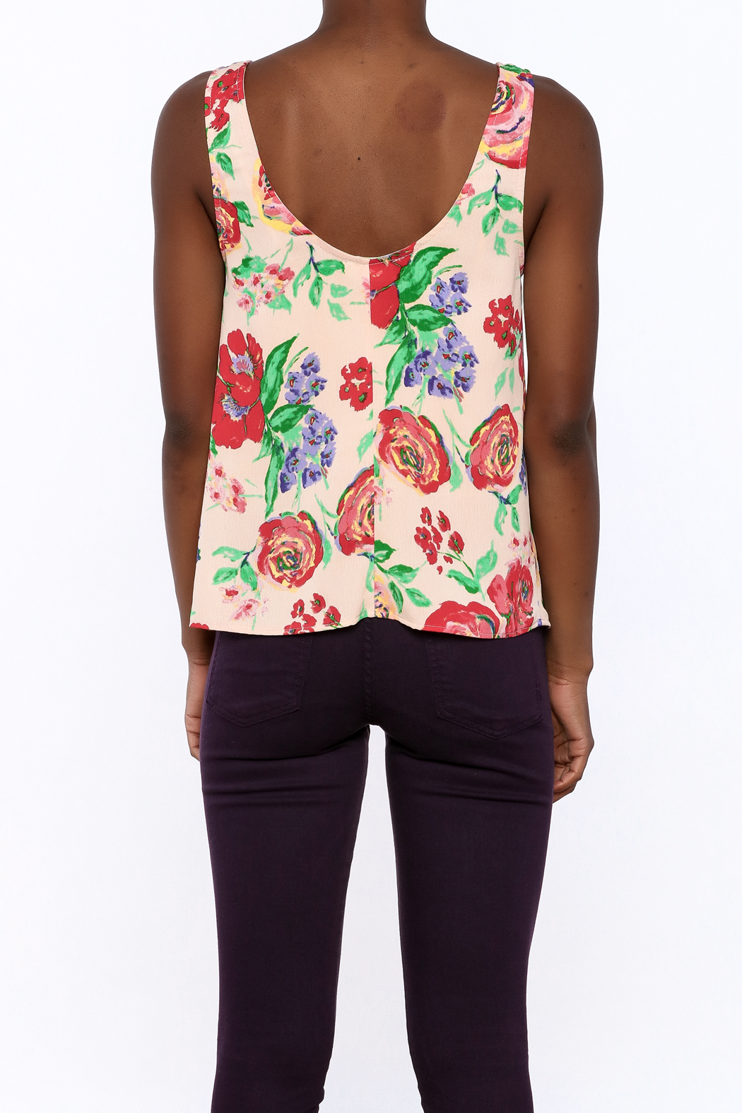 Everly Floral Tank Top - Back Cropped Image