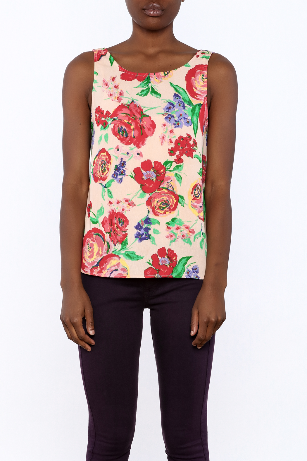 Everly Floral Tank Top - Side Cropped Image