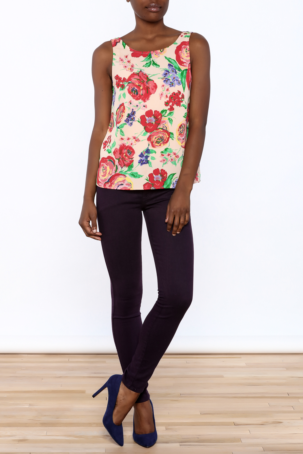 Everly Floral Tank Top - Front Full Image