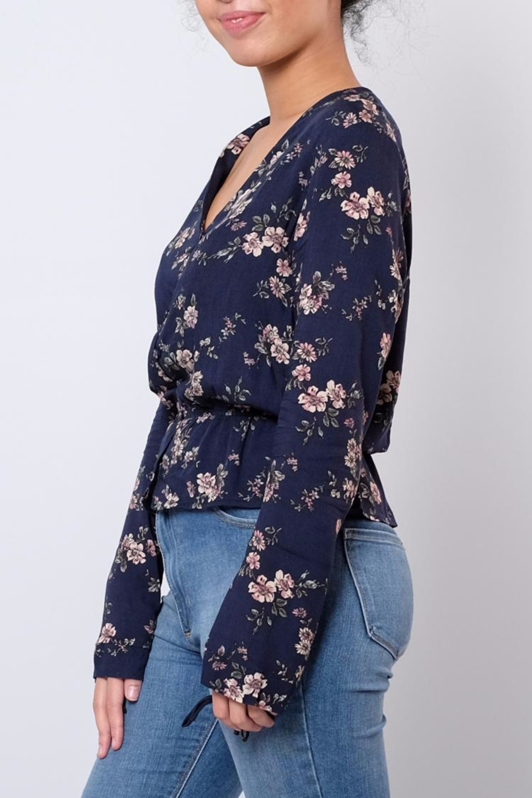 Everly Floral V Neck Blouse - Front Full Image