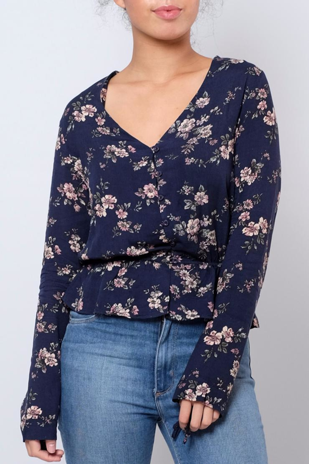 Everly Floral V Neck Blouse - Main Image