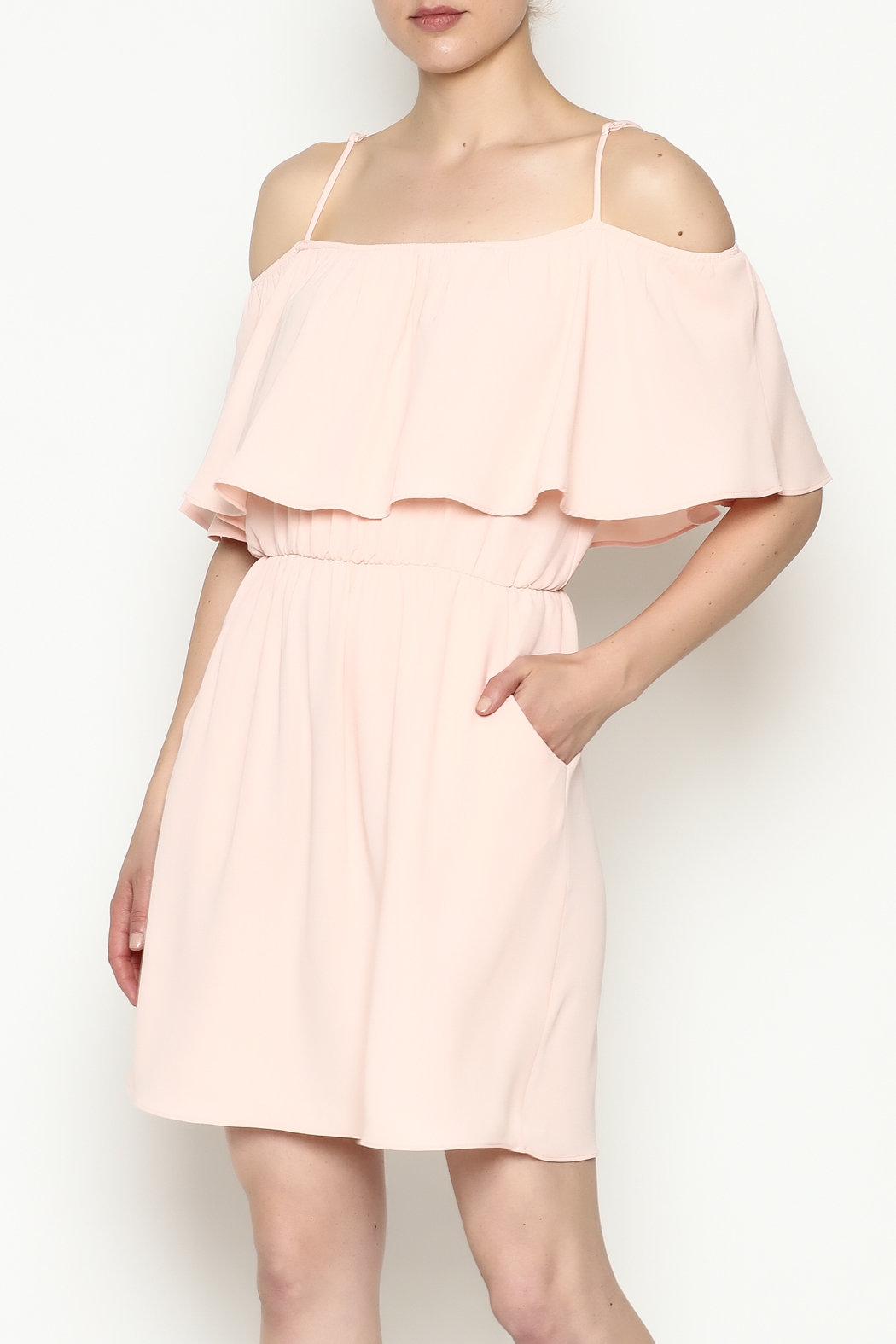 Everly Front Ruffle Dress - Front Cropped Image