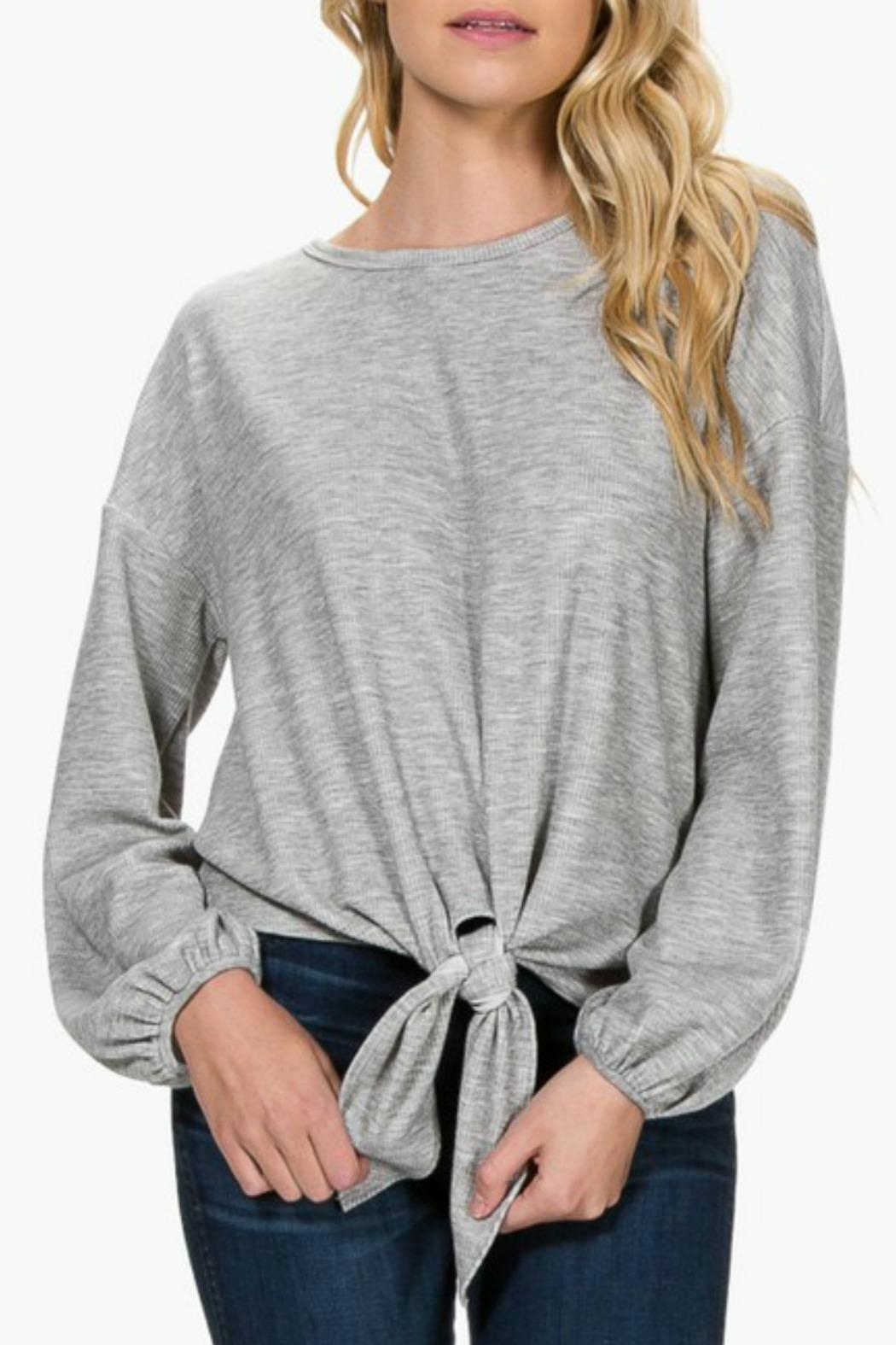 Everly Front-Tie Knit Top - Front Full Image