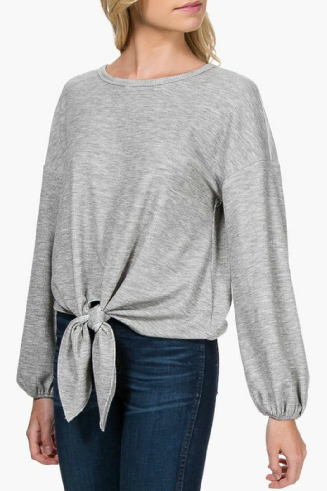 Everly Front-Tie Knit Top - Front Cropped Image